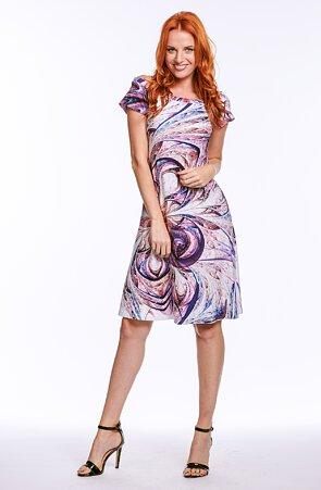 Letné fialové dámske šaty so spadnutými rukávmi 7073