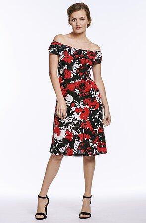 Letné modročervené dámske šaty s volánom 7193
