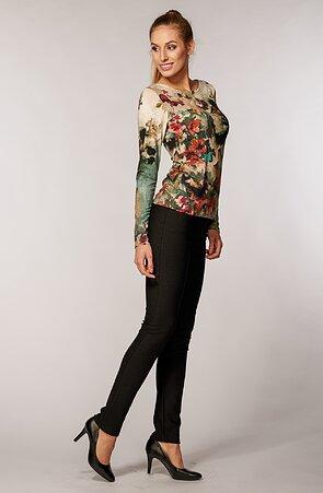 Čierne bodkované elegantné dlhé dámske nohavice 347