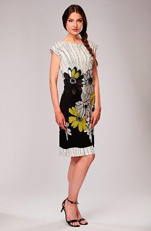 Elegantní černobílé dámské šaty se spadenými rukávy 7117