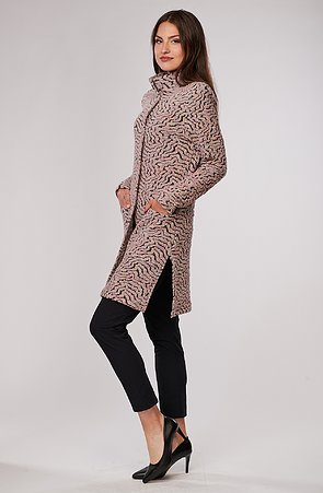 Růžovošedý dámský kabátek z příjemné svetroviny 7665