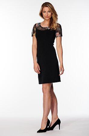 Čierne dámske šaty s farebnou čipkou 7015