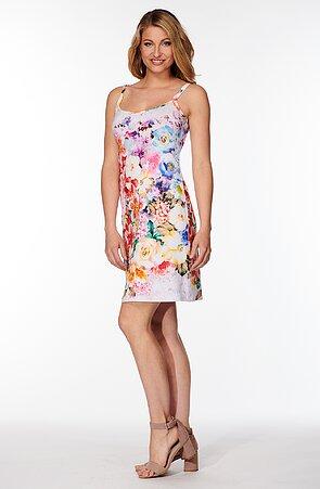 Letné biele dámske šaty s farebnými kvetmi 7174