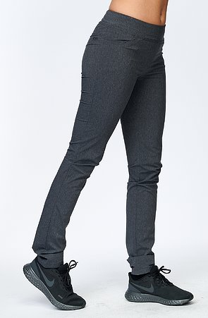 Úzké melírované šedé dámské kalhoty s kapsami 368