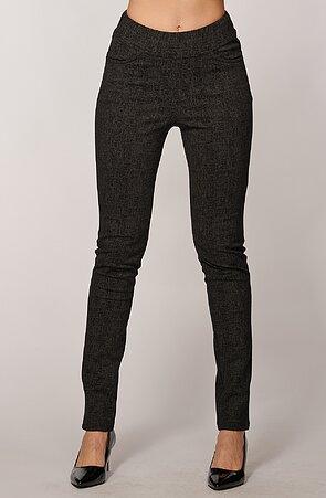 Elegantné úzke šedé čiarkované dlhé dámske nohavice 347