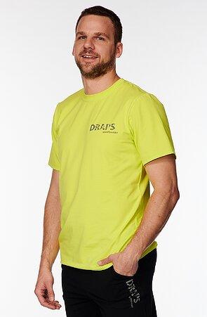 Bavlnené žltozelené pánske tričko s potlačou 485