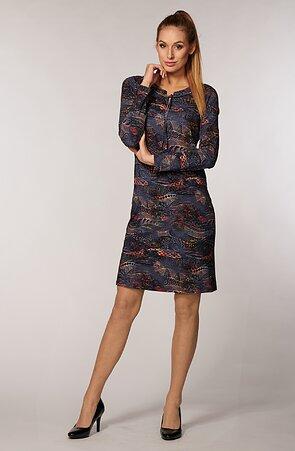Voľnejšie farebné dámske šaty s dlhými rukávmi 7105