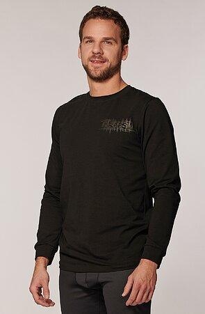 Bavlnené čierne pánske tričko s dlhými rukávmi 473