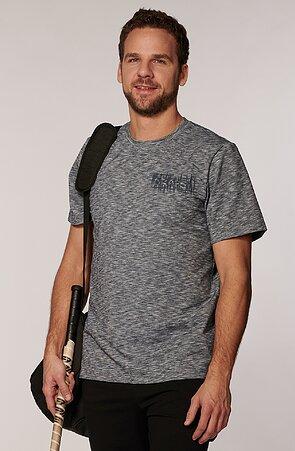 Melírované šedé pánske tričko s potlačou 467