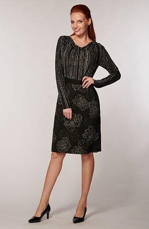 Elegantné čierne vzorované dámske šaty s dlhými rukávmi 7040