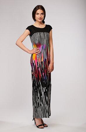 Dlouhé barevné dámské šaty s rozparkem 7103