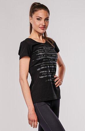 Bavlněné černé dámské tričko s potiskem 64