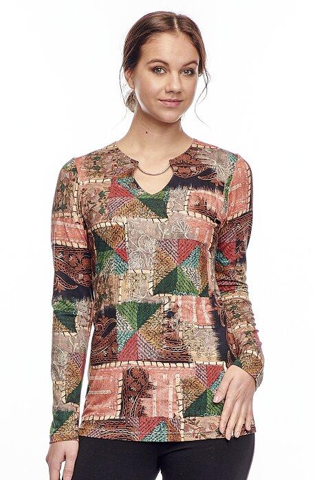 Elegantná farebná dámska blúzka s kovovou ozdobou 7753