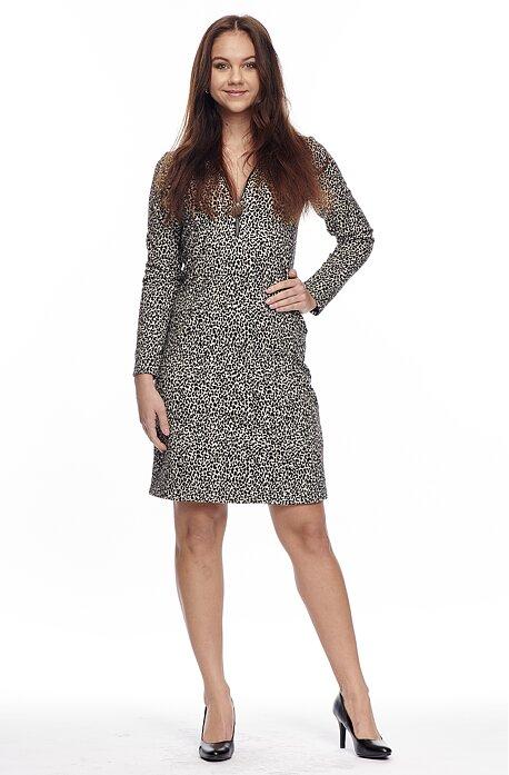 Priliehavé leopardie dámske šaty s výstrihom so zipsom 7082