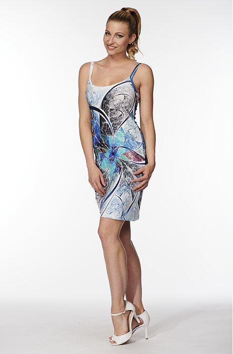 Letné modrobiele dámske šaty na ramienka 7174