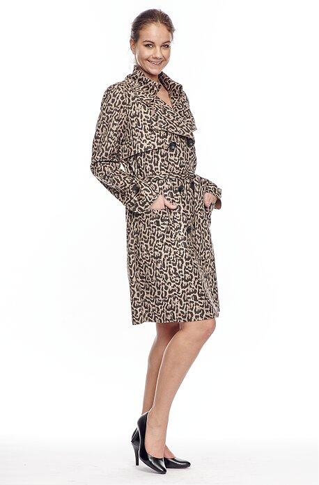 Leopardí dámsky kabátik na gombíky s opaskom 7631