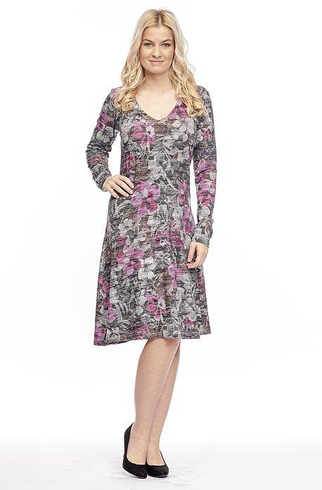 Kvetované dámske šaty ku kolenám 7026