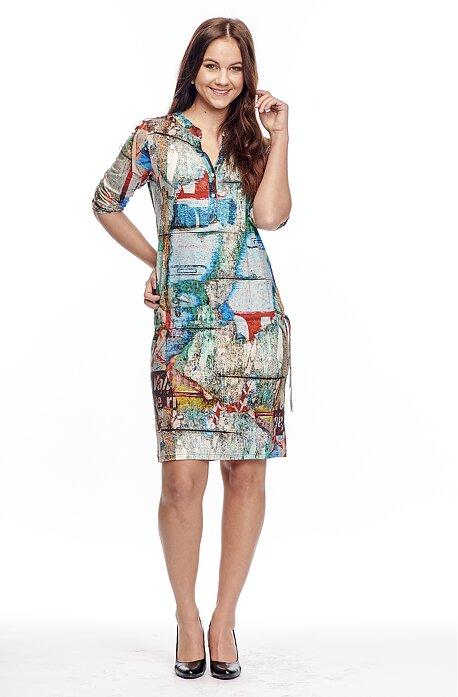 Pohodlné farebné dámske šaty s légou na gombíky 7036