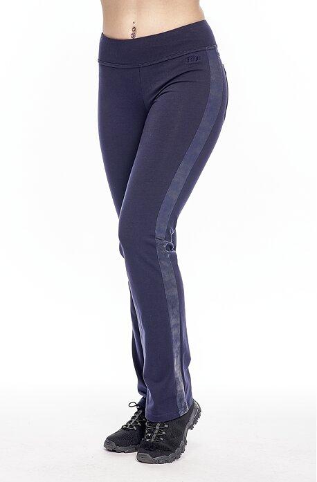 Úzke modré dámske nohavice s pruhmi z kože a s vreckami 304
