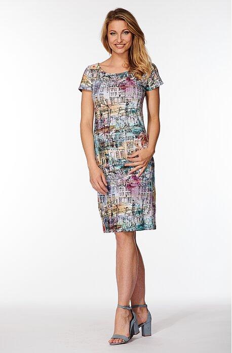 Farebné dámske šaty so striebornými pruhmi 831