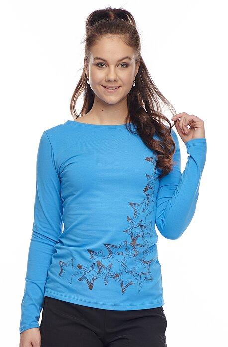 Bavlnené modré tričko s dlhým rukávom 56