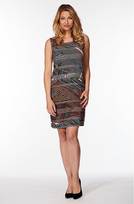 Farebné pruhované dámske šaty bez rukávov 7064