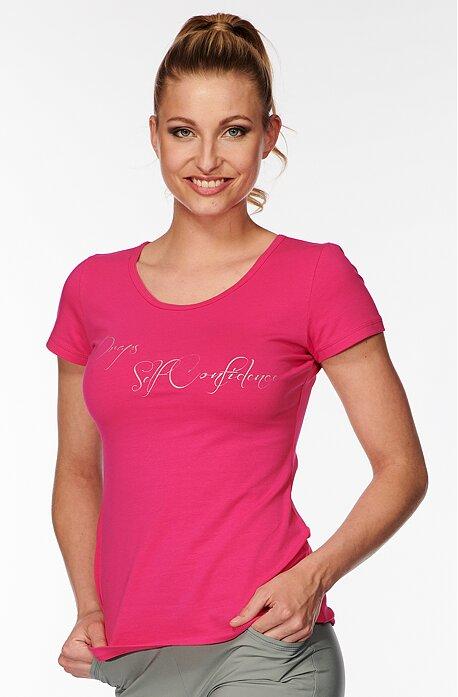 Bavlnené ružové dámske tričko s nápisom 40