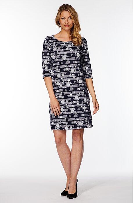 Modrobiele dámske šaty s 3/4 rukávmi 7068