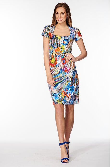 Farebné dámske šaty s tvarovaným výstrihom 7133