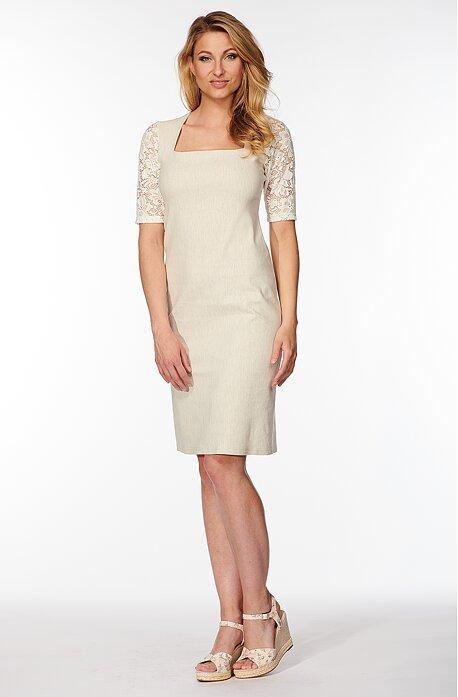 Béžové dámske šaty s čipkovanými rukávmi 7148