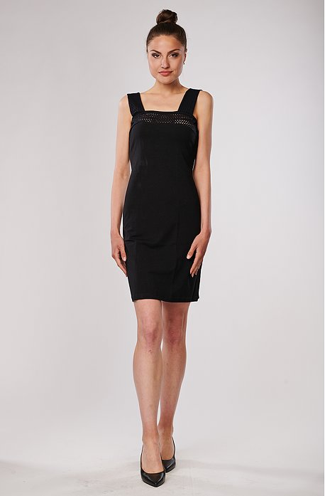 Bavlnené čierne dámske šaty bez rukávov s čipkou 7061