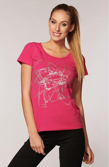 Bavlnené ružové dámske tričko s potlačou 54