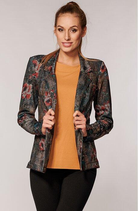 Elegantné farebné kárované dámske sako s vreckami 7604