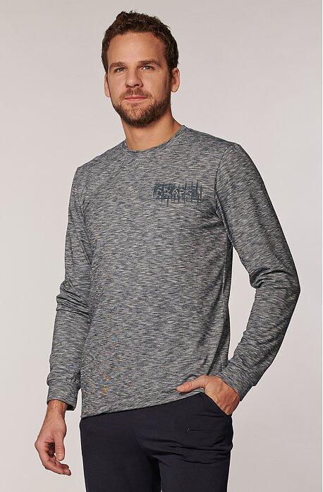 Melírované šedé pánske tričko s dlhými rukávmi 473