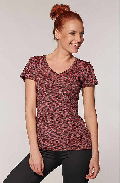 Športové melírované ružovošedé dámske tričko 17