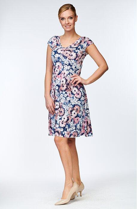 Letné voľnejšie margarétkové dámske šaty 7108