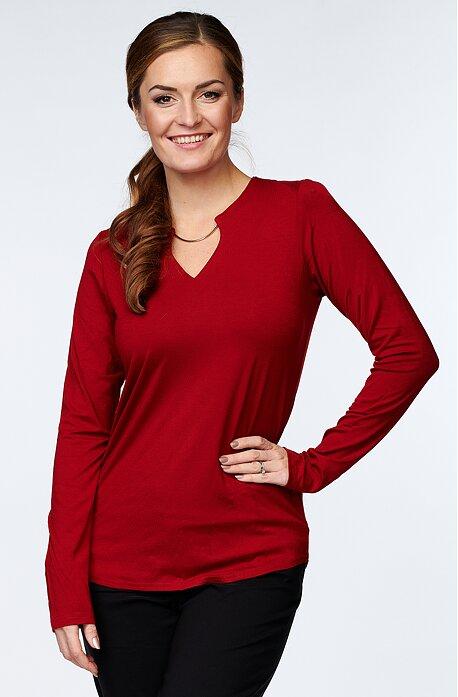 Červená dámska blúzka s kovovou ozdobou 7790