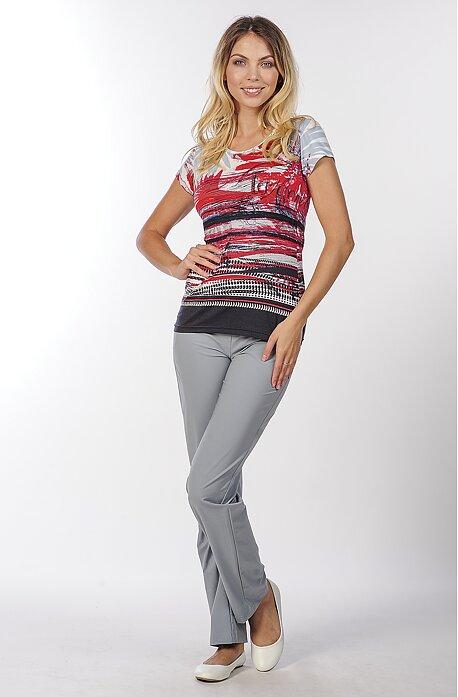 Letné šedé dlhé dámske nohavice s vreckami 303