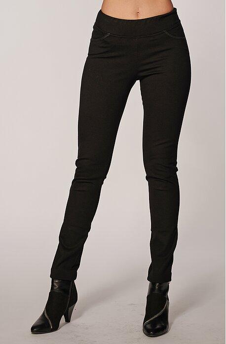Čierne dlhé dámske nohavice s úzkymi nohavicami 305