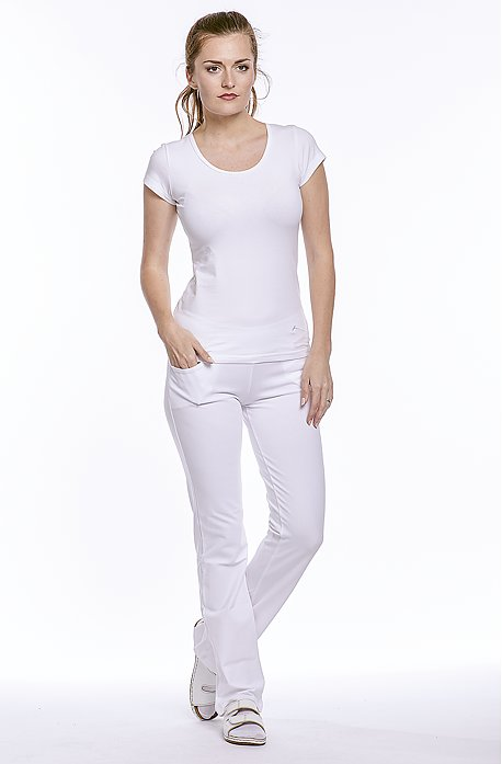 Úzke biele športové dámske nohavice 349