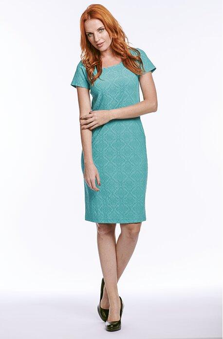 Vypasované smaragdové dámske šaty s krátkymi rukávmi 7172