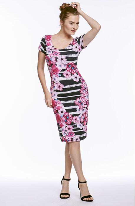 Letné pruhované dámske šaty s kvetinovou potlačou 7032