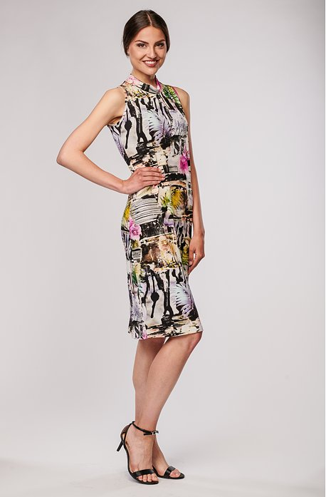 Elegantní barevné dámské šaty bez rukávů se stojáčkem 7016