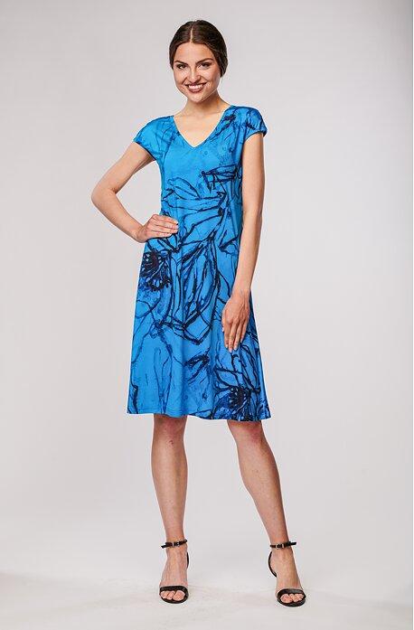 Letní volnější modré dámské šaty s černou kresbou 7108