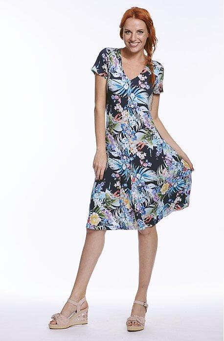 Letné širšie kvetinové dámske šaty s krátkymi rukávmi 7165