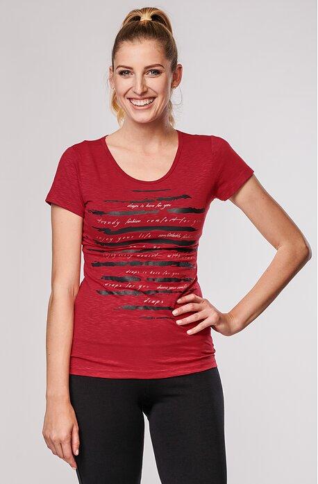 Viskózové červené dámské tričko s potiskem 64