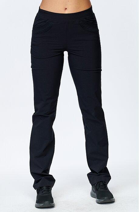 Letní černé dámské kalhoty s kapsami se síťkou 330
