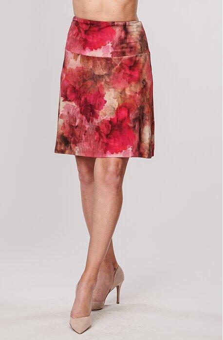 Letní širší bordó dámská sukně s květy 133
