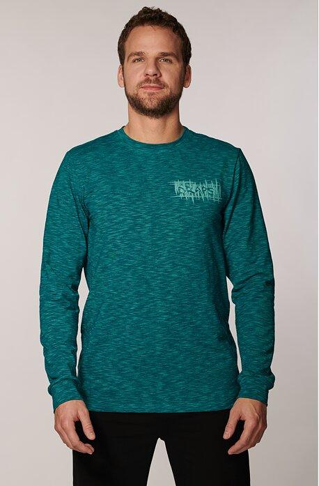 Melírované modrozelené pánske tričko s dlhými rukávmi 473