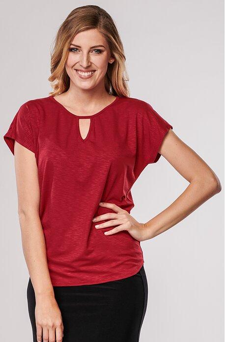 Červená dámská halenka s prostřihem 7758